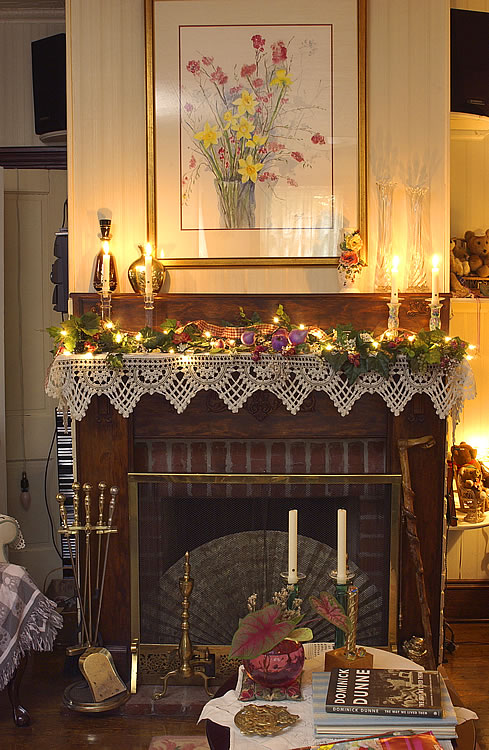 Picture of the fireplace.